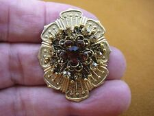 (bb601-114) Chocolate + vanilla stone textured flower gold brooch pin pendant
