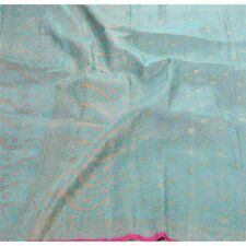 Sanskriti Vintage Heavy Sari Woven Pure Satin Silk Fabric Saree Brocade Blue