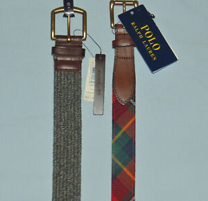 NWT Polo belts-choose Gray braided or Red tartan plaid--1/2 PRICE-Free shipping
