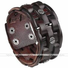 1pc Punk Wide Mens Genuine Leather Bracelet Braided Wristband Bangle Cuff Coffee