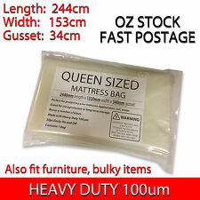 Queen - Mattress Plastic Cover Protector Storage Moving Bag - HEAVY DUTY