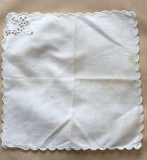 Vintage Handkerchief Ladies Handmade Broderie Anglaise 1920s 1930s Cotton Lawn