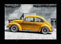 A-92- Yellow Vintage VW Beetle Car 40cm x 30cm Framed Print