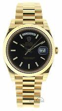 Rolex Mens Yellow Gold President Day-Date 228238 40mm Black Diagonal Dial UNWORN