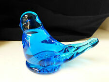 VTG BLUE BIRD OF HAPPINESS FIGURINE ART GLASS SIGNED ETCHED RON RAY 1987