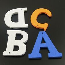 200X Mixed Color Wood 26 English Letters Pendant Findings 25*25mm