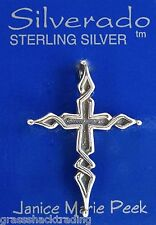 OLD SPANISH CROSS 925 Solid Sterling Silver Charm Pendant #1932