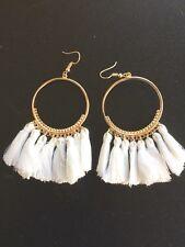 Boho Tassel Earring Women White Tassel Fringing 7 cm Drop 4 cm wide hoop