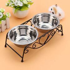 Double Bowls For Cat Pet Dog Puppy Non-Slip Splash Feeder Food Water Dish Bowl K