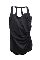 Miraclesuit Black Draped Gold Hook One Piece Swimsuit, Size US 12DD