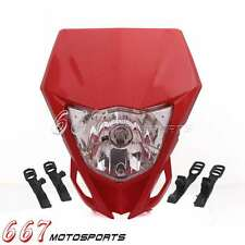 Enduro Supermoto Headlight Head Lamp Fairing For Honda 250 350 400 600 650 Red