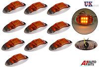 10x 24V LED Side Chrome Marker Orange Amber Lights Lamp TRUCK LORRY TRAILER BUS