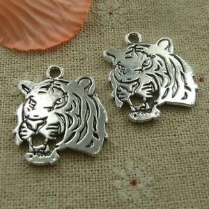 Free Ship 40 pcs tibetan silver tiger charms 27x24mm L-4602