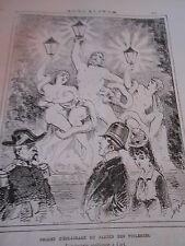 Caricature 1876  Projet d'éclairage du Jardin des Tuileries Antiquités
