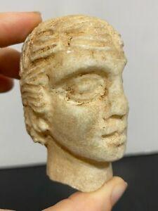 Ancient Greek Roman Artifact Stone Head Fragment Male Bust Art Statue Figure