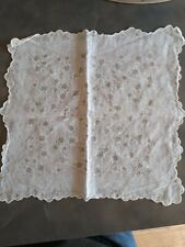 Vintage cotton Scalloped Edge White Blossom handkerchief