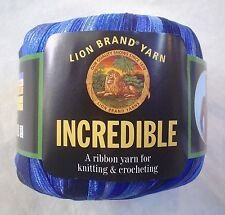 Lion Brand INCREDIBLE Yarn Blue Shades 202 FUN Vintage Ribbon 50 Grams