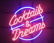 "New Cocktails And Dreams Neon Light Sign 20""x16"" Beer Cave Gift Bar Real Glass"