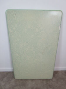 """Vintage Enamel Metal Table Top White Porcelain Cabinet green 40"""" by 25"""" in retro"""