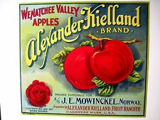 """Vintage Crate Label for """"Wenatchee Valley Apples"""" Packed For Norway *"""