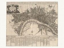 Old Vintage Antique London England map Senex ca. 1721 paper or canvas