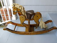 VINTAGE LARGE WOOD LEATHER ROCKING HORSE W/ SWINGING LEGS CLIP CLOP SOUND RARE!!