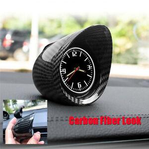 Universal Car Auto Interior Dashboard Clock Carbon Fiber Look Luminous Backlight