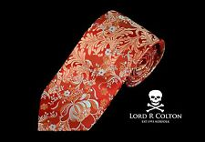 Lord R Colton Masterworks Tie - Merano Red Gold Gray Floral Woven Necktie - New