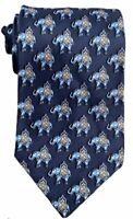 """Leonard Men's 100% Silk Blue Tie Elephant Print Made In Italy 3 3/4"""" Width Mint"""