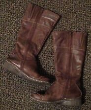 "KHRIO Brown Leather Over the Calf Boots with 1 3/8"" Heel ~ Size 38 (US 7 1/2/8)"