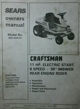 Sears Craftsman Rear Engine Rider Owner, Service & Parts Manual 56p 502.254151