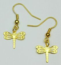 Dragonfly Fretwork Earrings Hce391 Hand Made Gold Colour
