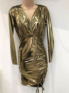 bnwt BOOHOO NIGHT DRESS UK 8 GOLD SHIMMER GATHERED RUCHED ELASTICATED WAISTBAND