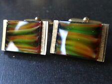 vintage multi colour banded glass modernist 1970s mens gold tone cufflinks -Q106