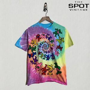 Men's Liquid Blue Grateful Dead Infinite Spiral Bear Tee Shirt Tie Dye Sz Medium