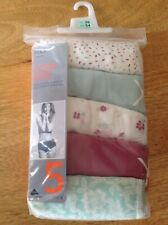 BNWT MARKS AND SPENCER LADIES PACK OF 5  COTTON LYCRA MIDIS KNICKERS, SIZE 26