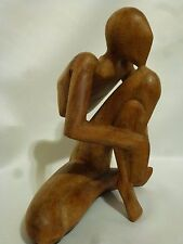 Yoga Pose Carved Wood Sculpture Bali Art