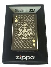 Zippo Custom Lighter ACE OF SPADES Laser Engraved Black Ice 150 Gift Made in USA