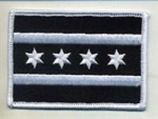 Chicago Flag Patch Black & White  Motorcycle Club Colors, Biker Patches,