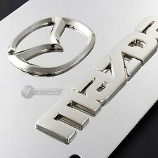MAZDA Logo Front 3D Mirror Stainless Steel License Plate Frame AUTHENTIC -CHROME