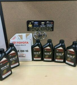 TOYOTA GENUINE OEM SAE 0W-16 SYNTHETIC MOTOR OIL 6 PACK 0027916QTE