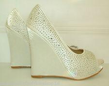 Tamaño 3 4 5 6 7 Blanco o Marfil Satinado Diamante Cuña De Alto Zapatos De Novia Ocasión