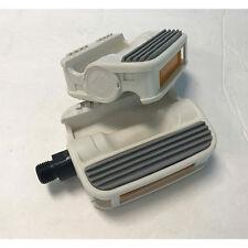 """MKS BMX Bike Platform Pedals - 9/16"""" - Gray White - Retro Unsealed"""