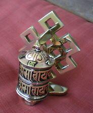 Standing Tibetan Prayer Wheel Endless Knot w/ Mantra Scroll Copper and Brass