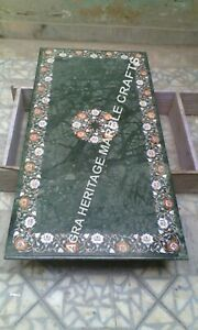 4'x2' Green Marble Dining Hallway Table Top Precious Marquetry Inlay Decor H1977