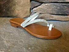 ITALIAN SHOEMAKERS TOSCANELLA Amaris or Georgette Toe Ring Sandals RHINESTONE