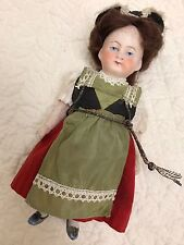 """ANTIQUE GERMAN ALL BISQUE HERTWIG? DOLL 5001 WITH COSTUME & HAT 5 1/4"""""""