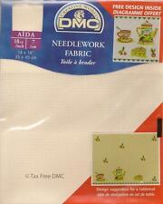 "VAT Free DMC 18 Count Ct Cross Stitch Aida Fabric Ecru 14"" x 18"" New"