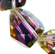 15x20mm Faceted Rose Rainbow Czech Glass Crystal Nugget Beads 12pcs