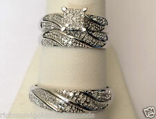 His Her Mens Woman REAL Diamonds Wedding Ring Bands Trio Bridal Set White Gold